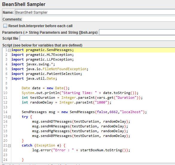 BeanShell script with hl7 sending